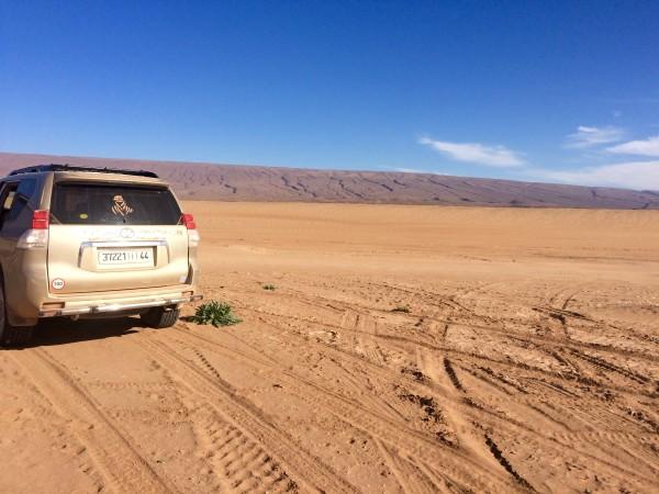 Con el jeep de Sáhara Vivo recorriendo el desierto