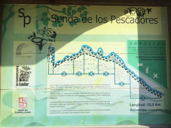 Cartel informativo de la Senda de los Pescadores (Cuéllar)