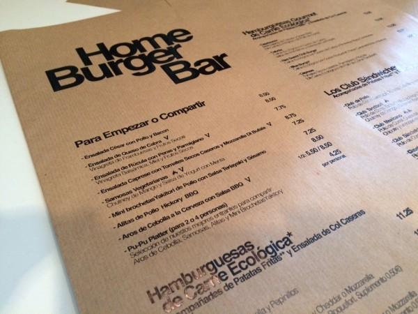 Carta del restaurante Home Burguer