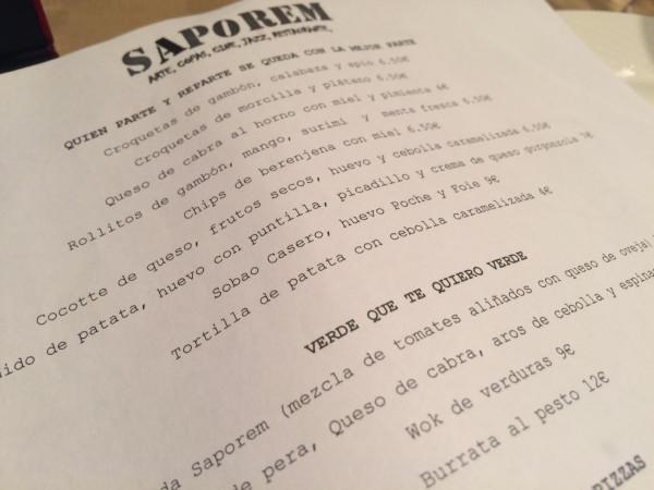 Carta del restaurante Saporem (Madrid)