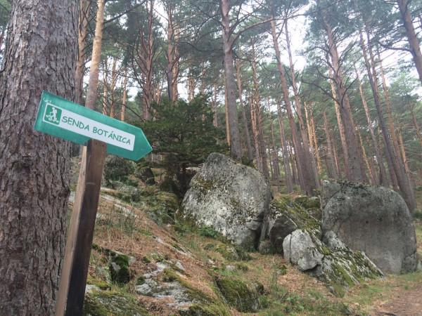 Señalización de la senda botánica por la que empieza la ruta.