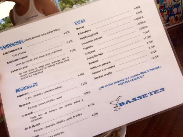 La carta de Ses Basetes en Dènia (Alicante)