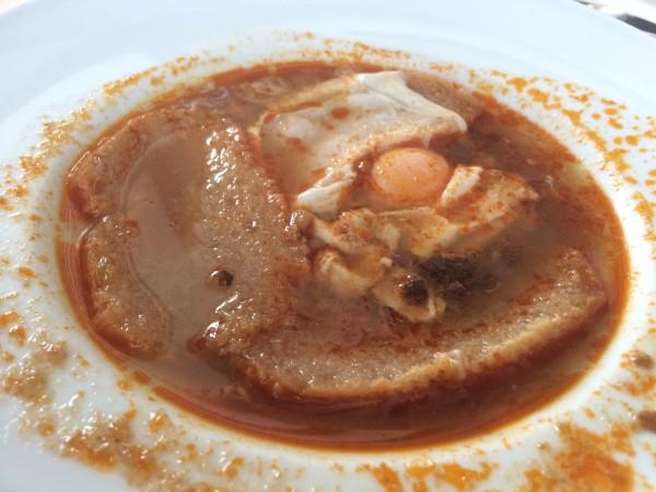 Sopa de ajo en el Restaurante Mesón del Olivar (Malpica del Tajo)
