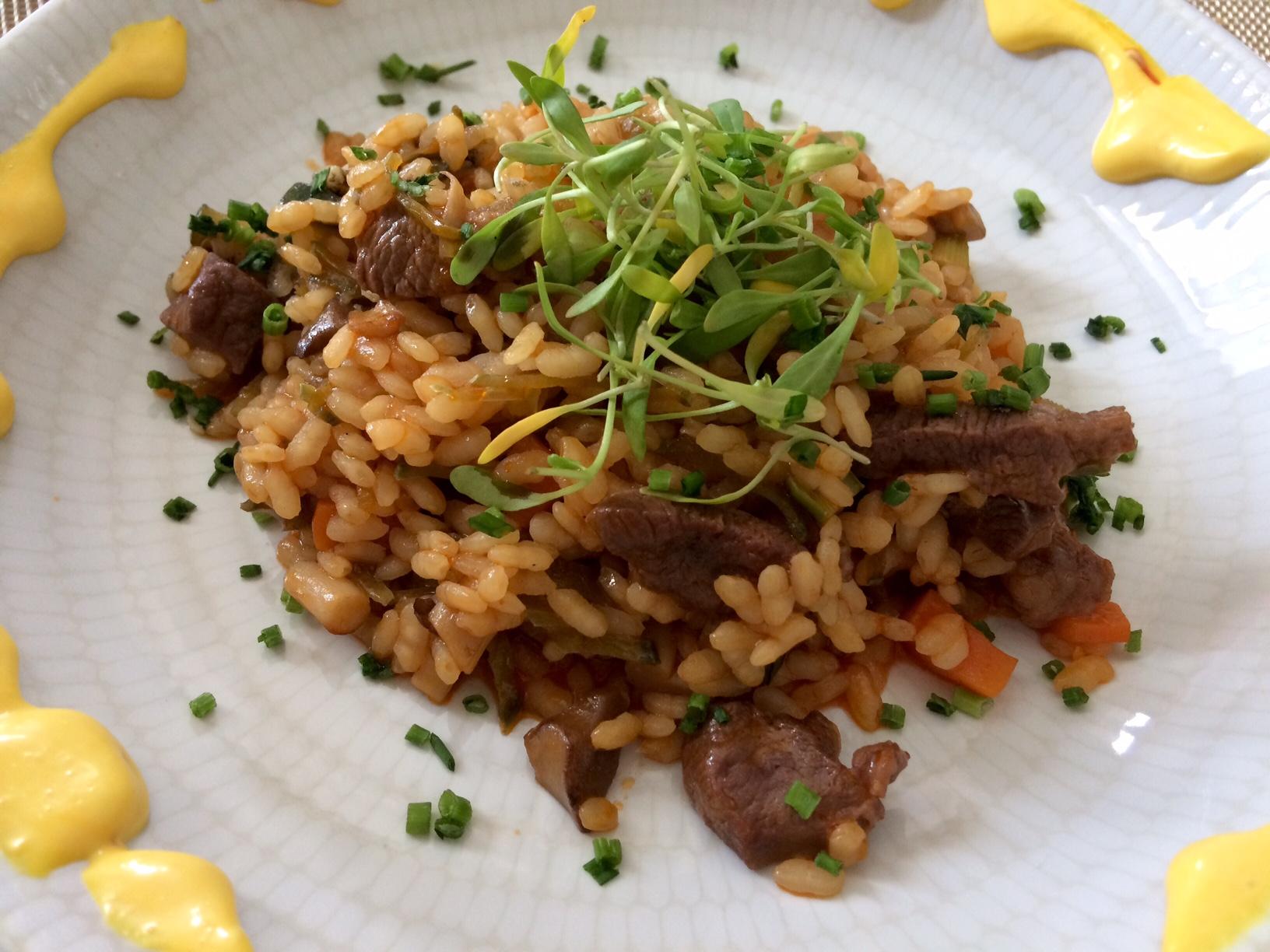 Arroz con verduras y pato en el Restaurante Bistrot (Collado Mediano)